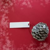 Winter decoration. Two pine cones with labels, on red background. Winter decoration. Two pine cones with labels, on snowy red background stock image