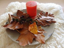 Autumn decoration with red candle. Autumn season with candle on white fur Stock Photo