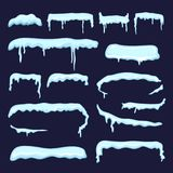 Winter decoration from snow caps and frozen icicles. Vector snowcap winter design to xmas style illustration Stock Photos