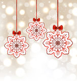 Winter decoration with snowflakes and bows Stock Photography