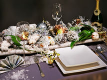 Winter decoration on table Royalty Free Stock Images