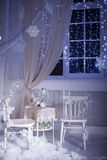 Winter decoration. Table for romantic dinner for two. Stock Photos