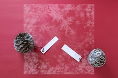 Winter decoration. Two pine cones with labels, on red background. Winter decoration. Two pine cones with labels, on snowy red background royalty free stock image