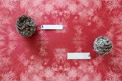 Winter decoration. Two pine cones with labels, on red background. Winter decoration. Two pine cones with labels, on snowy red background royalty free stock photo
