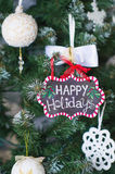 Winter decorations with Christmas ornaments Stock Photo