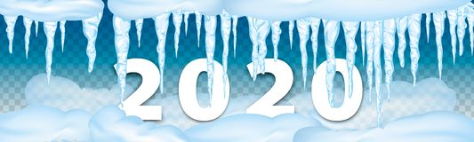 2020 winter decorations Set of snow icicles, snow cap isolated. Snowy elements on winter background. 2020 Christmas Vector snow. Set of snow icicles, snow cap royalty free stock images