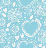 Winter decorative seamless pattern. Cute background with hearts and flowers. Fabric ornate texture for wallpapers, prints, crafts, Royalty Free Stock Photography