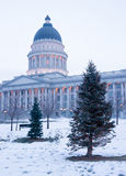 Winter Deep Freeze Sunrise Landscape Utah State Capital Stock Image
