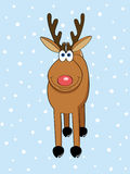 Winter deer. A cute Christmas deer standing in the snow vector illustration Stock Image