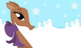Winter Deer. Illustration of a deer with a bow. Background of winter snow and snowflakes royalty free illustration