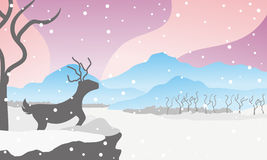 Winter deer. Deer under snow design illustration with colorful background Stock Photo