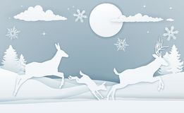 Winter Deer Scene Paper Art. A winter Christmas scene of deer family running in the snow in a vintage paper art style Stock Image