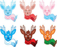 Winter deers in scarves Royalty Free Stock Photography