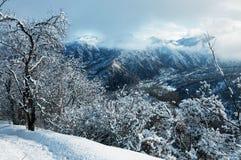 Winter in den Bergen stockbild