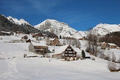 Winter in den Schweizer Alpen Stockfotografie