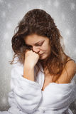 Winter depression. Young woman suffering from depression Royalty Free Stock Photo