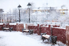 Winter in der alten Stadt Stockbild