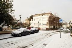Winter in der französischen Stadt von Straßburg Stockbilder