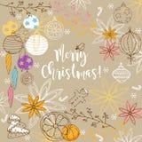 Winter der frohen Weihnachten kritzelt Hintergrund lizenzfreie abbildung
