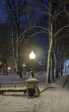 Winter in der Nachtstadt Lizenzfreie Stockfotos