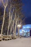 Winter in der Nachtstadt Lizenzfreies Stockfoto