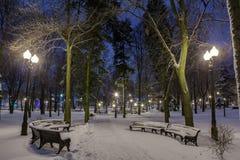 Winter in der Nachtstadt Lizenzfreies Stockbild