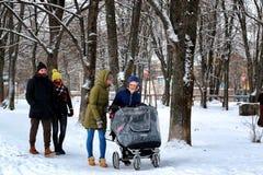 Winter des Gruppenwegs im Freien schneebedeckt stockfotos