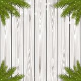 Winter design with branches of spruce. Black and white wooden background with branches of spruce for Christmas and New Year. Winter design. Vector illustration Royalty Free Stock Images