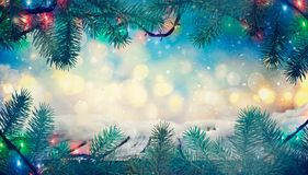 Winter design. Christmas background with Frozen table. Blurred stock images