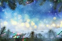 Winter design. Christmas background with Frozen table. Blurred royalty free stock images
