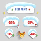 Winter design Christmas sale stickers discounts Stock Photos