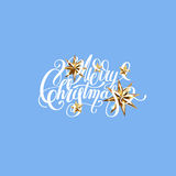Winter design with golden stars and handwritten lettering merry. Christmas to greeting card, poster, banner, vector illustration eps10 Royalty Free Stock Photo