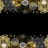 Winter design with golden white snowflakes on black background. Royalty Free Stock Image