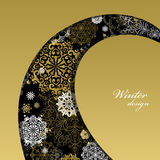 Winter design with golden white snowflakes on black background. Royalty Free Stock Images