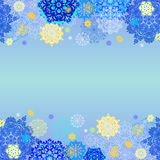 Winter design with pink and blue snowflakes on light background. Royalty Free Stock Photos