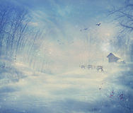Winter design - Reindeer forest Royalty Free Stock Images