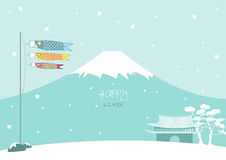 Winter design on snowy mountain background, Design for baby cards. Winter design on snowy mountain background royalty free illustration