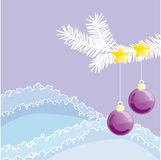 Winter. Detail of christmas tree in nature with decoration Royalty Free Stock Photo