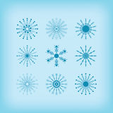 Winter detail line circle snowflakes icons set on blue background Stock Images