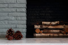 Winter Detail Of Painted Fireplace Royalty Free Stock Image