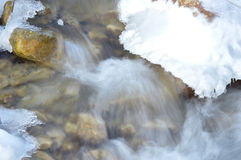 winter detail with wild and frozen river and stone Royalty Free Stock Photo