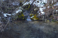 winter detail with wild and frozen river and stone Stock Image