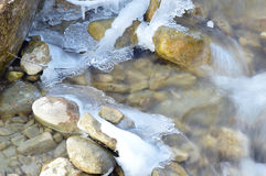 winter detail with wild and frozen river and stone Stock Photos