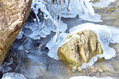 winter detail with wild and frozen river and stone Royalty Free Stock Image