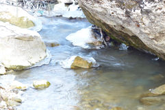 winter detail with wild and frozen river and stone Royalty Free Stock Photos
