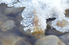 winter detail with wild and frozen river and stone Stock Photo
