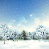 Winter Digital Watercolor Landscape Royalty Free Stock Photos