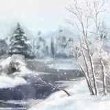 Winter Digital Watercolor Landscape Royalty Free Stock Image