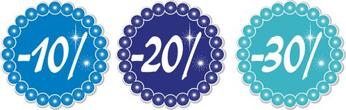 Winter discount 10-30%. 10-30% price tags of snowflakes, vector illustration Royalty Free Stock Photo
