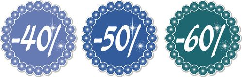 Winter discount 40-60%. 40-60% price tags of snowflakes, vector illustration Royalty Free Stock Photos